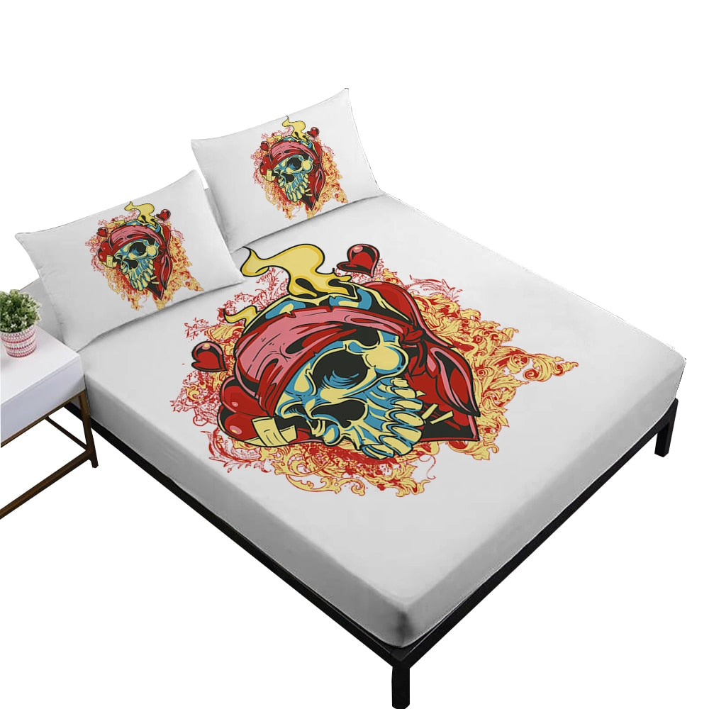 Sugar Skull With Flowers Print *Fitted Sheet *Day of the Dead Skeleton