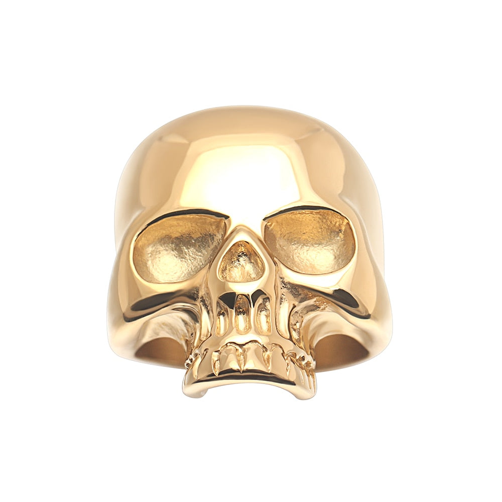 Luxury Gold Stainless Steel Stereoscopic Smooth Skull Skeleton Finger Ring For Men Women Jewelry 3pcs wholesale