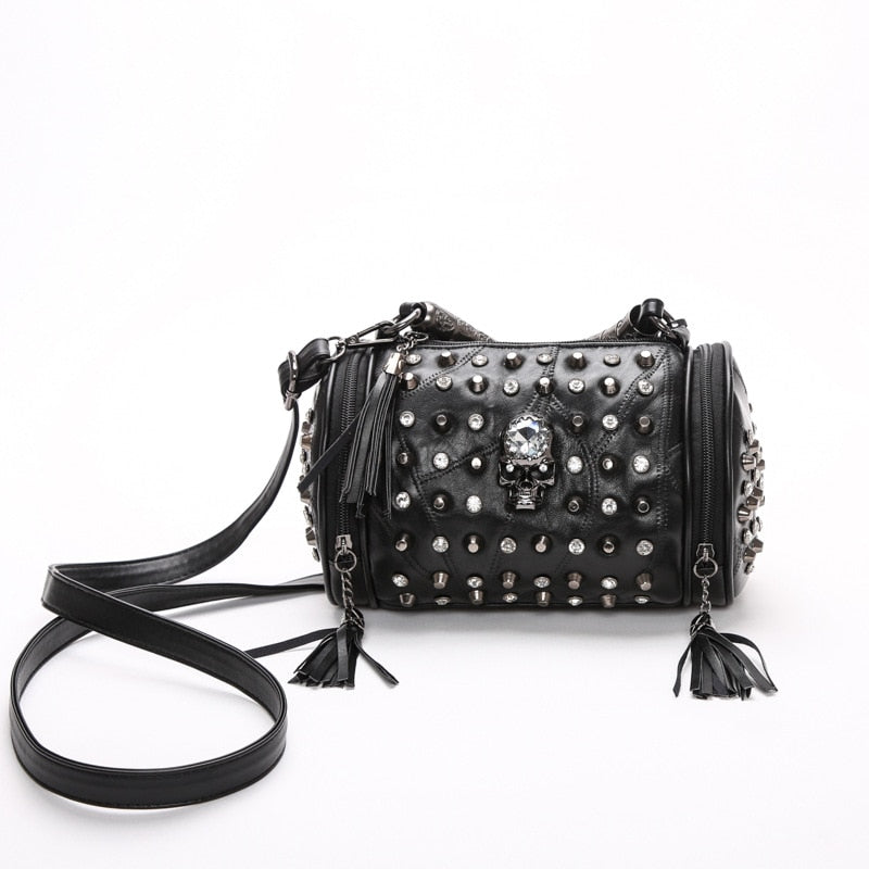 Women's Genuine Sheepskin Leather Tassels Skull Rivet Shoulder Bag