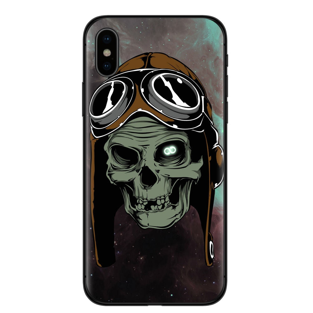 Fashion Retro Style Flower Skull Phone Case For iphone X 8 8Plus 7 7Plus 6 6S Plus SE 5 5S Soft Silicone Black Back Cover Coque