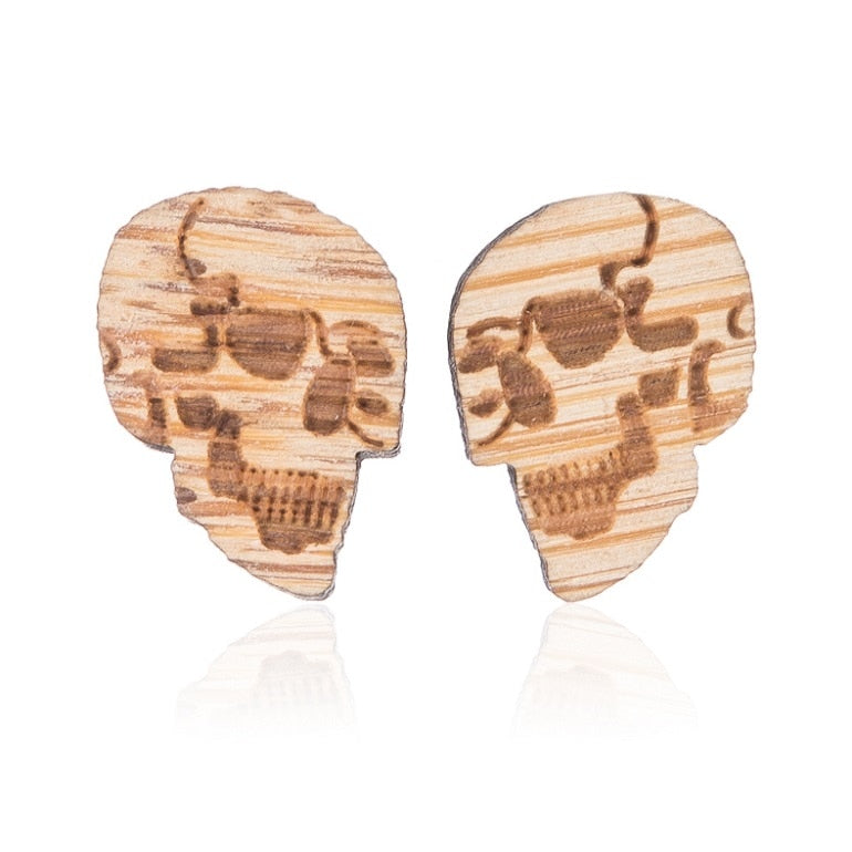 Women's Wooden Stud Earrings Jewellery - WOOD (Skull Earrings)
