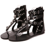2019 Rivets Gladiator Women Sandals Skull  Beach Summer Flat Black