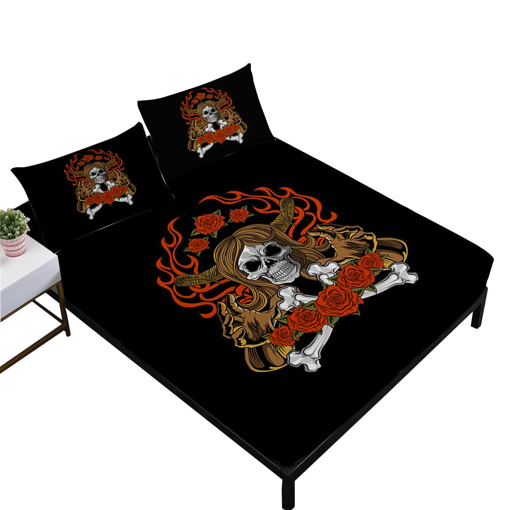 Gothic Skull Print Bed Sheets Tribal Skeleton Fitted Sheets