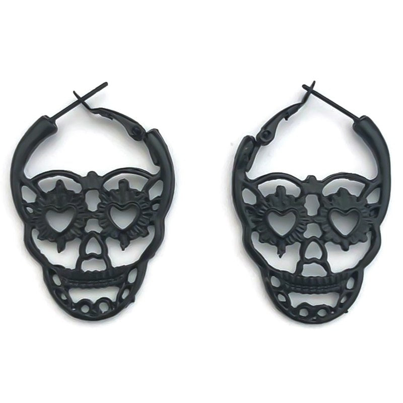 Steampunk Silver Color Skull Stud Earrings Vintage Retro Hollow Skeleton Piercing Ear Gothic Punk Jewelry