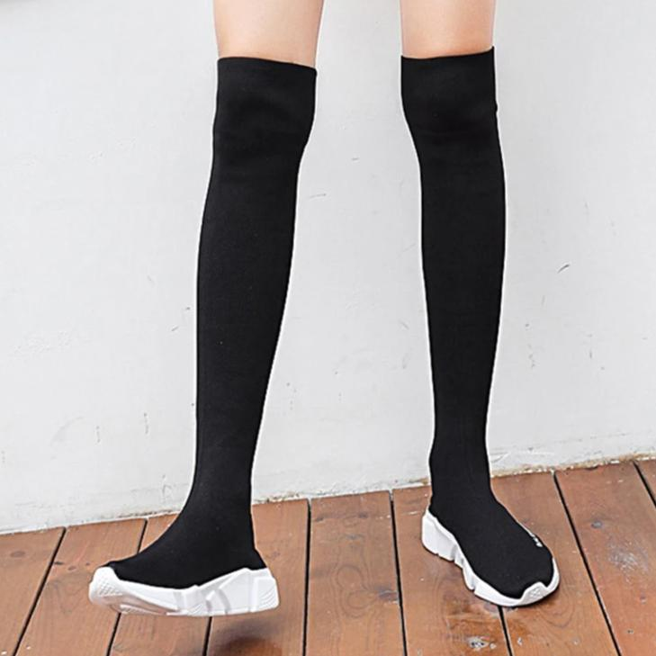 Elasticised Over The Knee Boots * Black Sock Boots  *Long Thigh High Slim  Sock Boots with Sneaker Base