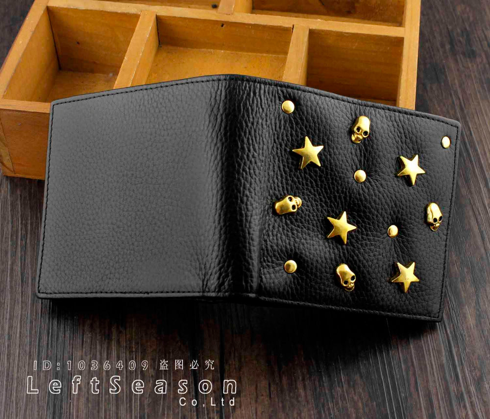 Mens Womens High Quality *Skull *Star 8Real Leather Wallet