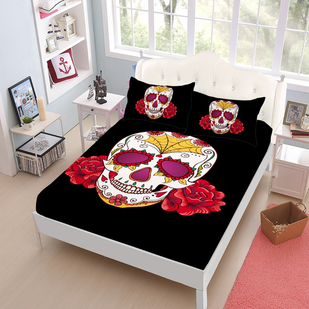 Hippie Sheets Set Sugar Skull With Flowers Print Fitted Sheet skeleton Flat Sheet Pillowcase Day of the Dead Gift Home Decor D30