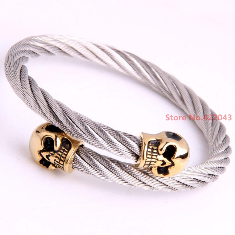 Luxury Stainless Steel Twisted Cable Wire Skull Bracelet Cuff Bangle Bracelets For 22.5mm Jewelry (Silver gold)