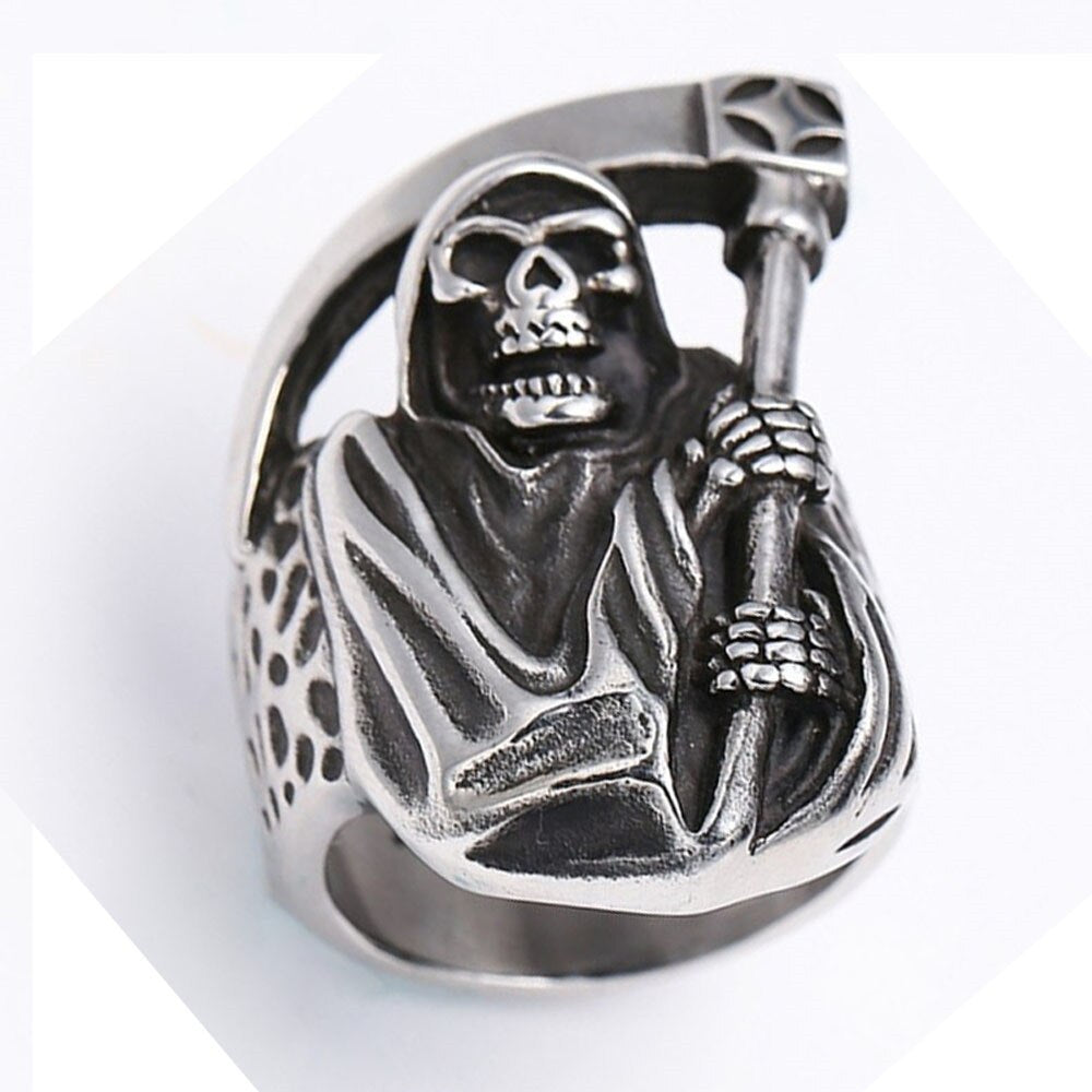 Mens Boys Vintage Rugged Skull Rings Fashion Punk Party Biker Jewelry Skull With A Sickle Ring Halloween Explosion Jewelry