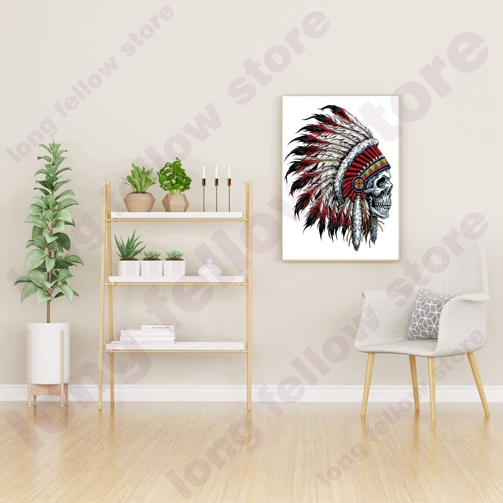 Skull Canvas Print Skeleton Head Abstract Cartoon Tatto Poster Feather Skull Canvas Painting for Room Home Decor Dropshipping