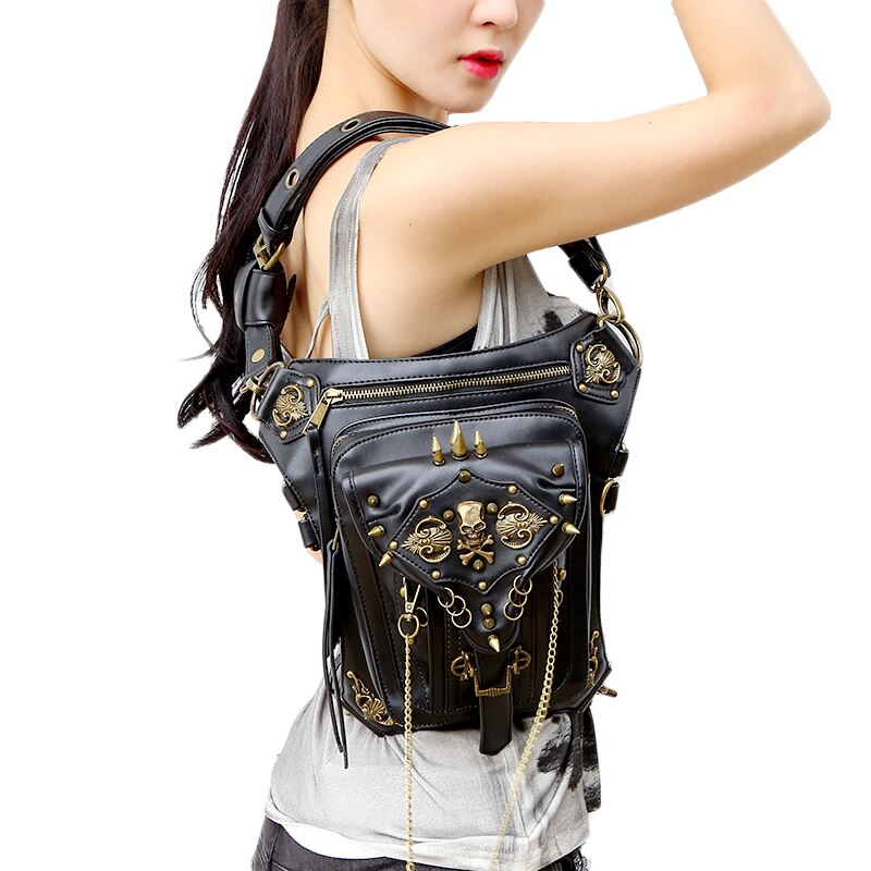 Norbinus Skull Retro Rock Waist Bags Gothic Shoulder Messenger Bags Men Women Leather Waist Fanny Pack Holster Drop Leg Belt Bag