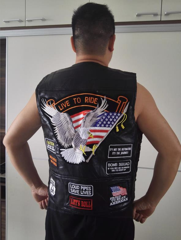 Men's Genuine Leather Motorcycle Vest With14 Patches US Flag Eagle Biker Vests High Quality Sheepskin US S-3XL