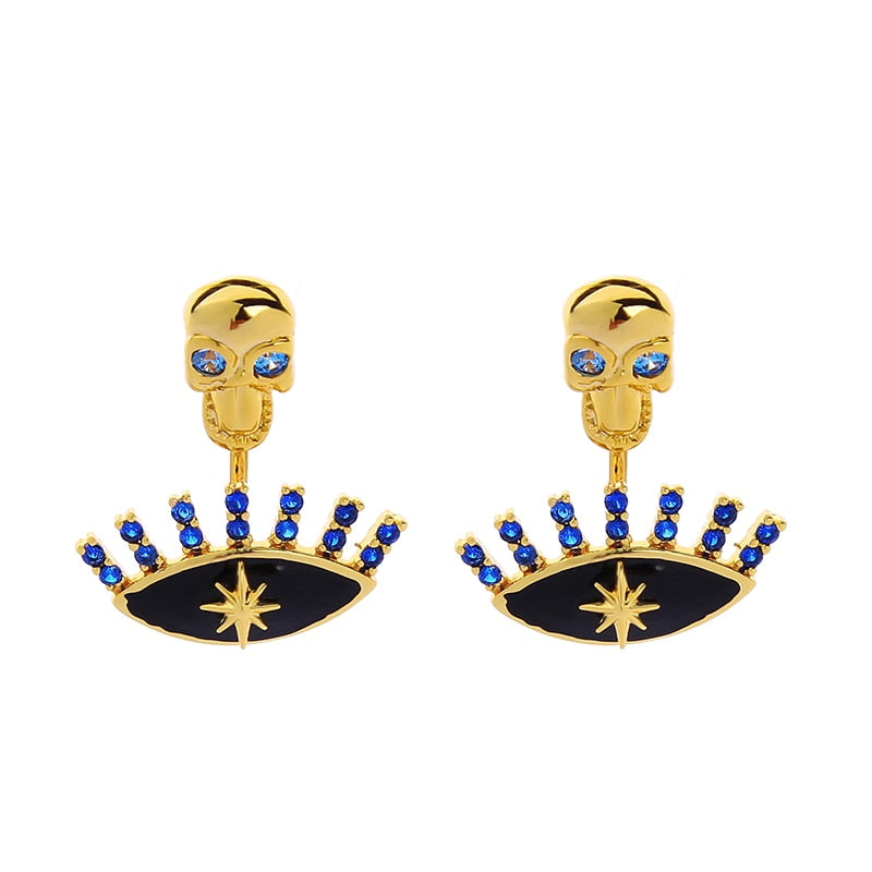 Women's Stud Earrings Jewellery - Gold & Black Studs (gold color)