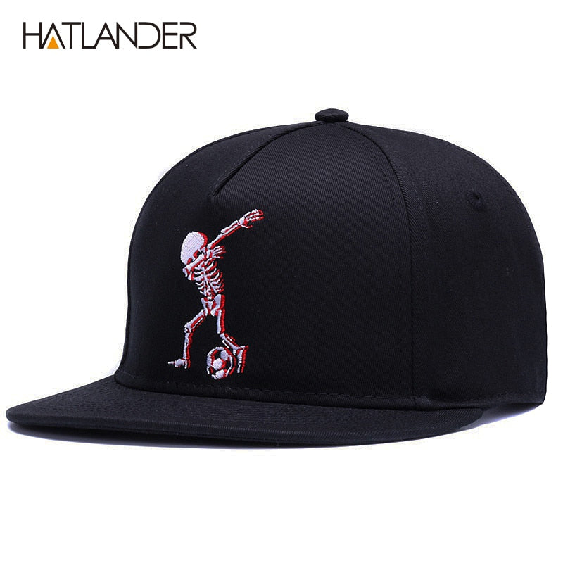"Cotton Baseball Snapback Cap Embroidered Skeleton doing ""The Bolt"""