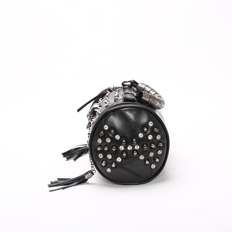 Women's Genuine Leather Tassels Skull Handbag Women Luxury Rock Rivet Punk Shoulder Bag Black Sheepskin Messenger Travel Bag B547