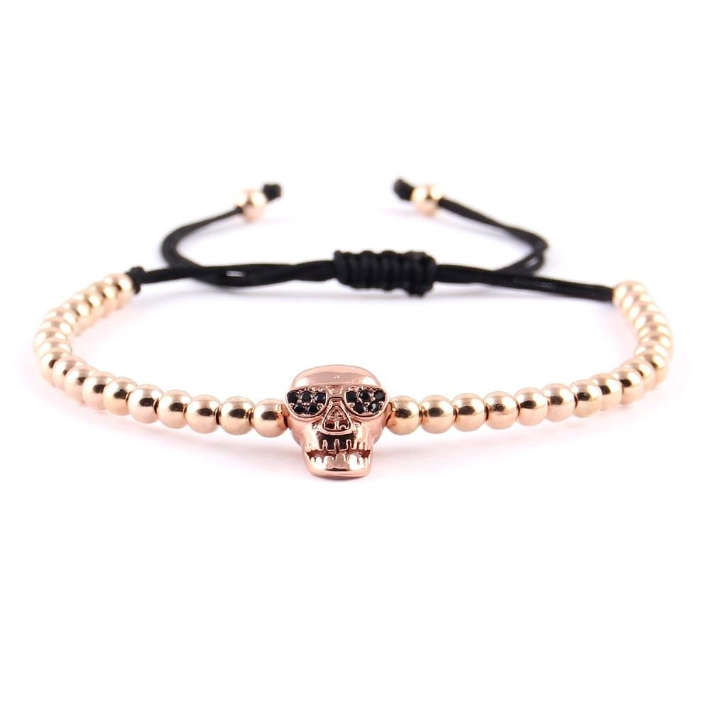 Skull Charm Bracelet Collection copper bead Braided men skeleton bracelets & bangles for women Jewelry