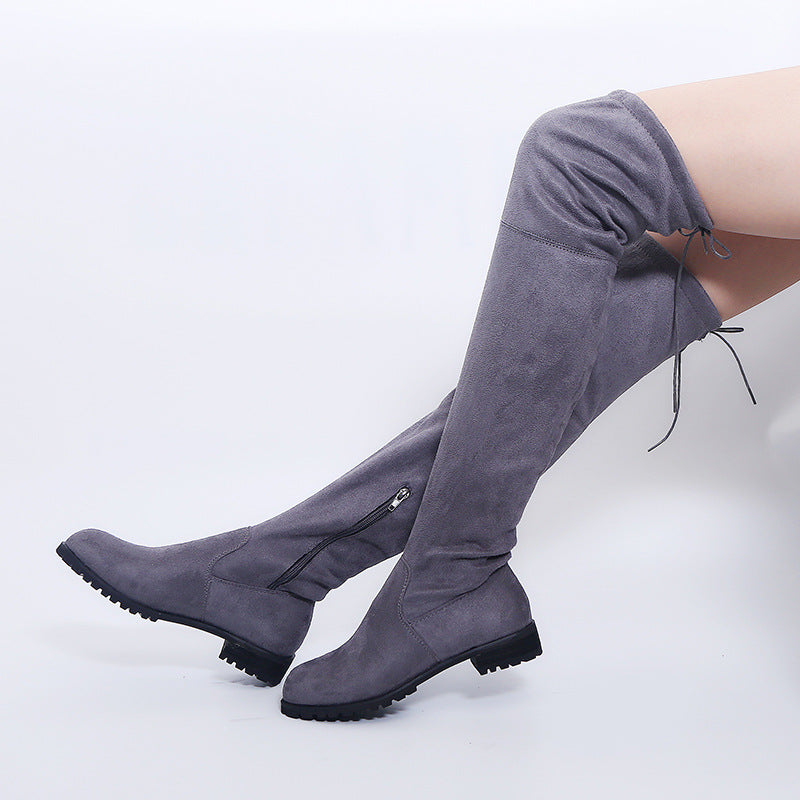 2020 Winter Thigh High Boots  *Suede Black/Gray/Red