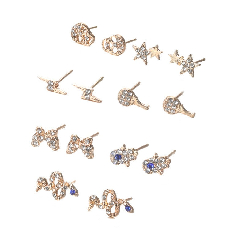 Women's Stud Earrings Jewellery - Set In Gold