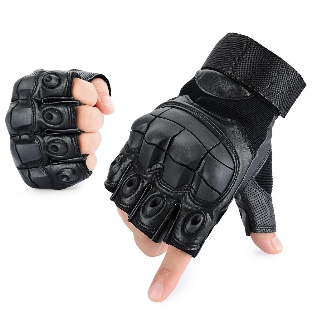 PU Leather Motorcycle Fingerless Glove Military Tactical Cycling Motorbike Motocross Hard Knuckle Half Finger Protective Gear