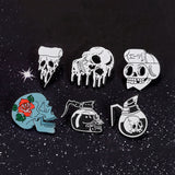 Skull Pins Rose Flowers Japanese warrior Skull enamel pins badges Coffee Flower Pizza Skeleton Brooches Lapel pins Punk Jewelry