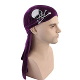 Unsiex Skull Print Pleuche Hooded Long Tail Pirate Hat
