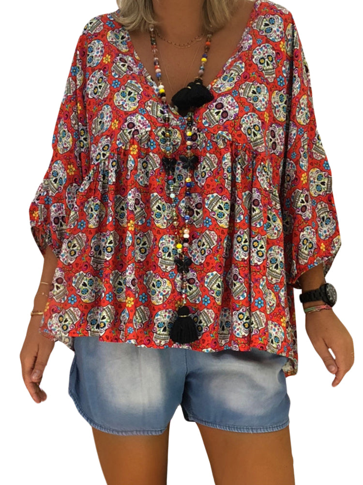Skull Print V-neck Loose Blouse For Women