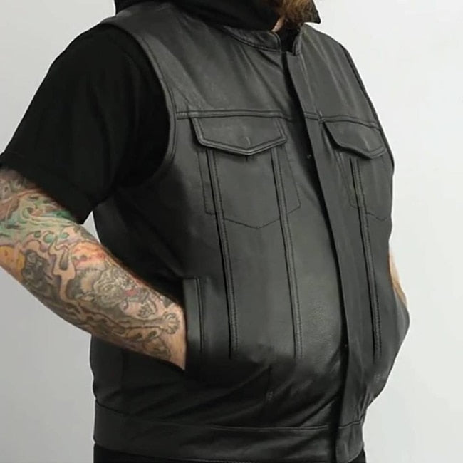 Thunder Road Skull PU Leather Vest
