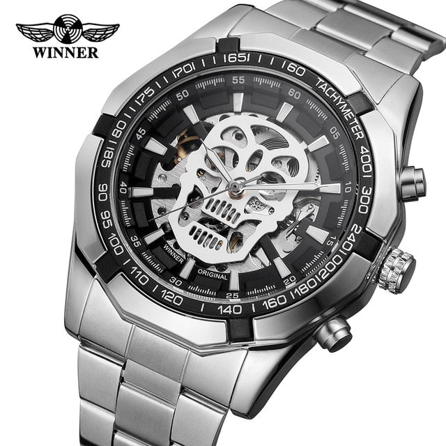 Automatic Mechanical  Skeletal Skull Watch with Steel Strap