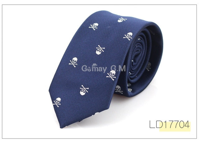 Slim Skull Ties For Men Classic Polyester Neckties