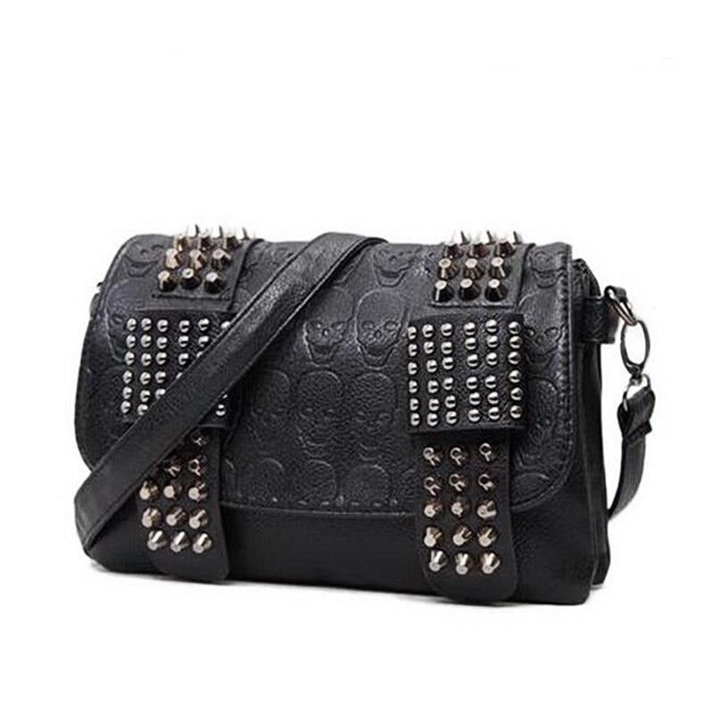 Womens PU Leather Skull Shoulder / Crossbody Bag with Chain