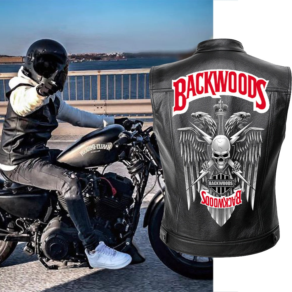 Biker Skull Backwoods PU Leather Vest