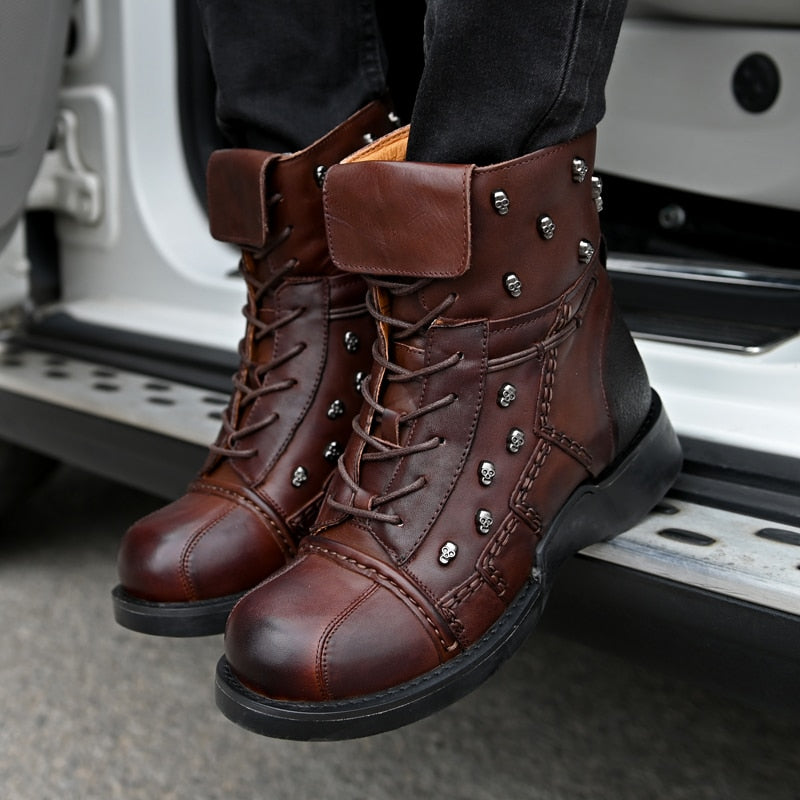 Men's Genuine  Cowhide Leather Motorcycle Boots Skull Detail Design