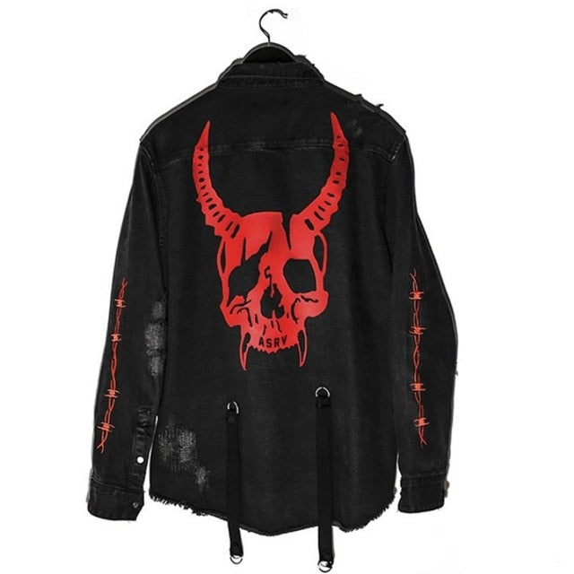 Gothic Demon Skull Black Denim Jacket