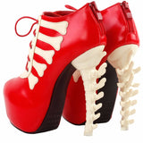 Two Tone Lace Up High-top Skull Bone Platform Ankle Boot