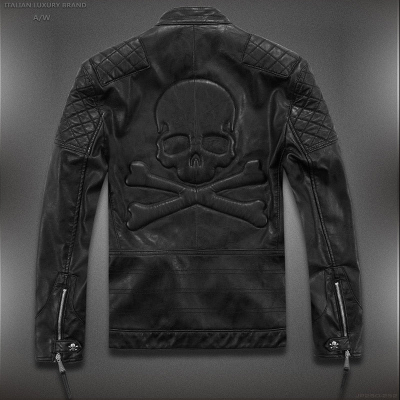Skull Design Unique Motorcycle Leather Jacket M-5XL