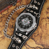 Bullet Chain Wrist Watch Skull Cuff with Steampunk Bracelet