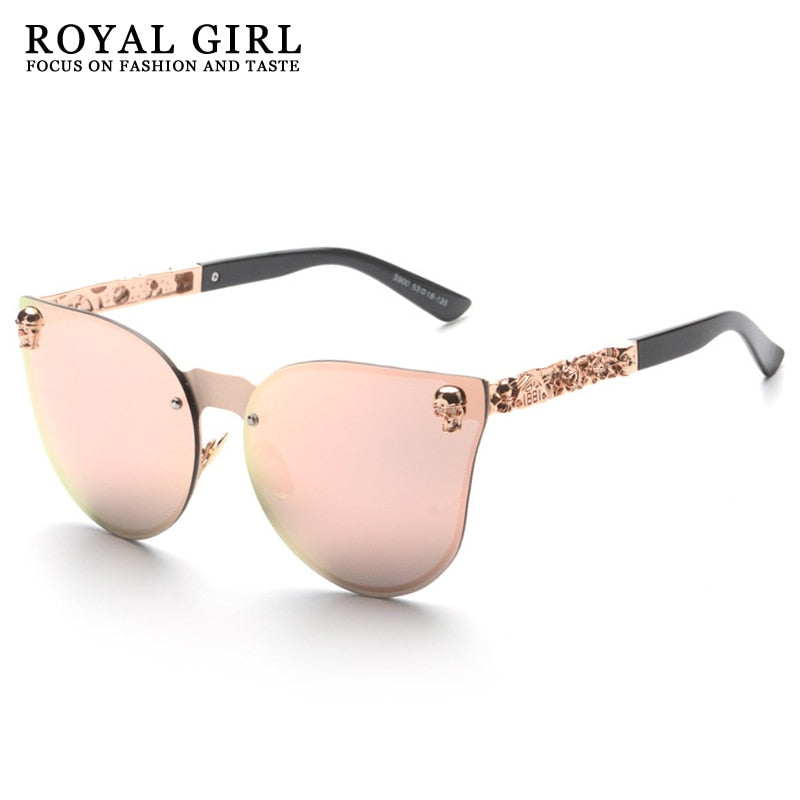 ROYAL GIRL Cat Eye Women Sunglasses Rimless Skull Frame Metal Temple Oculos Mirror Glasses feminino UV400 Flower Leg ss147