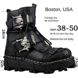 Men's Unique Genuine Leather Ankle Motorcycle Military Combat Boots