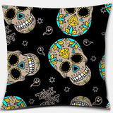 Diamond Sugar Skull Flower Cushion Cover (45cm-45cm)