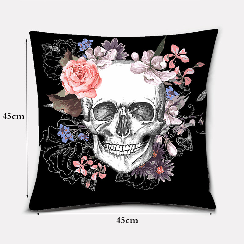 Ivy Sugar Skull Flower Cushion Cover (45cm-45cm)
