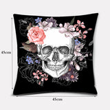 Classic Sugar Skull Flower Cushion Cover (45cm-45cm)