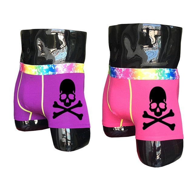 (2 piece/set) Skull Design Men's Colorful Underpants