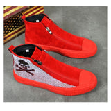 Skull Casual Vulcanized  Diamond Red Sneakers 2021