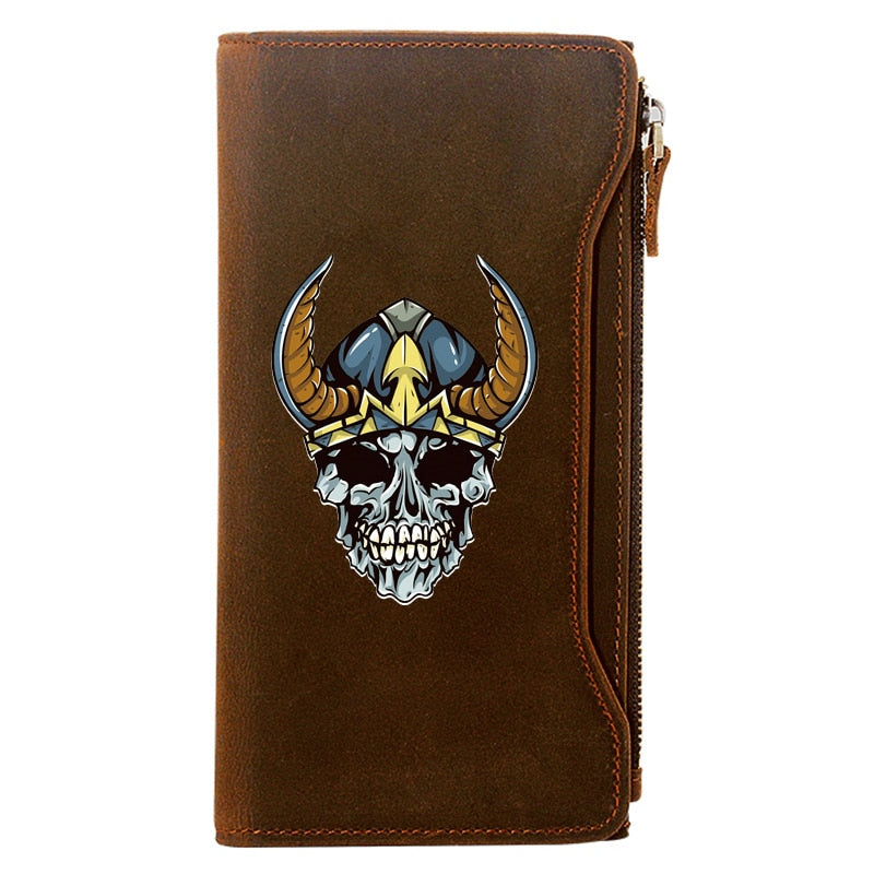 Vintage Classic Viking Skull Genuine Leather Wallet
