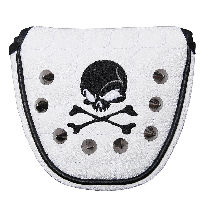 Golf Putter Cover Skull Rivets PU Leather Magnetic Closure