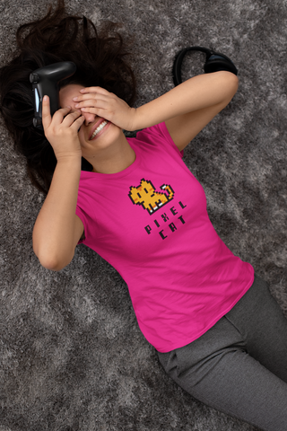 Pink Pixel Cat Womens Tee