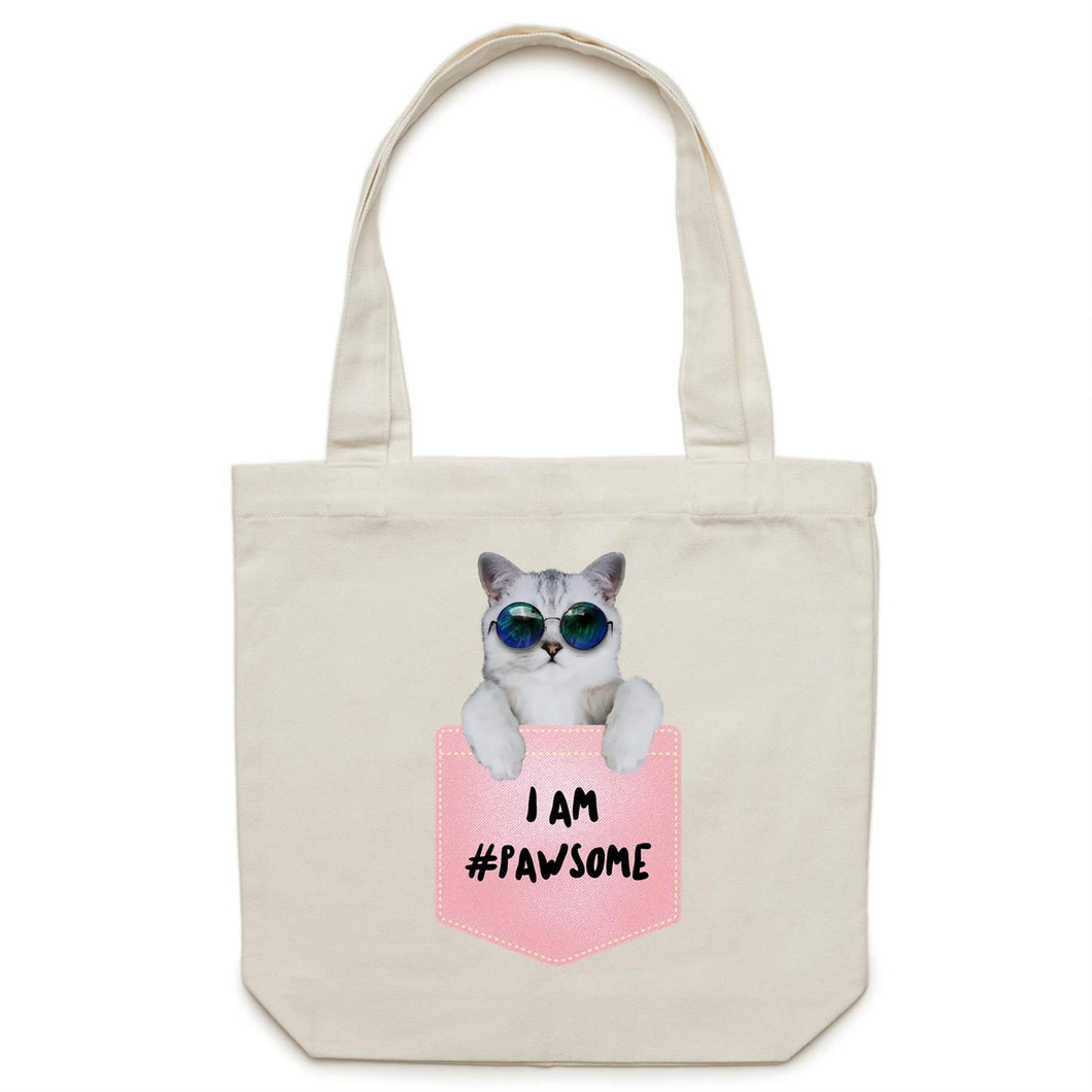 Canvas Tote Bag - I AM #Pawsome (Pink Pocket) - Meow Express