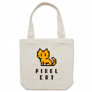 Canvas Tote Bag - Pixel Cat - Meow Express