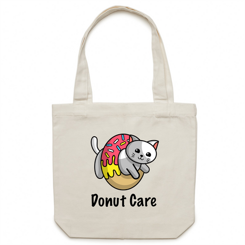 Canvas Tote Bag - Donut Care Cat - Meow Express