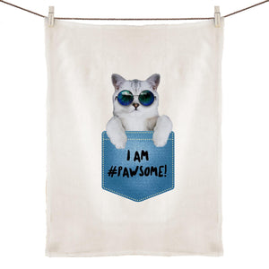 100% Linen Tea Towel - I am Pawsome (Blue) - Meow Express